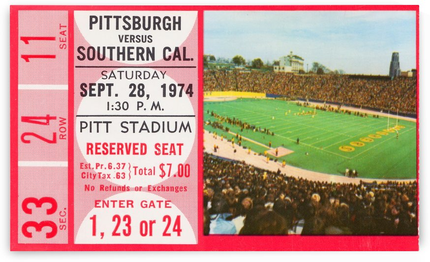 1974 southern cal pittsburgh college football tickets sports art by Row One Brand