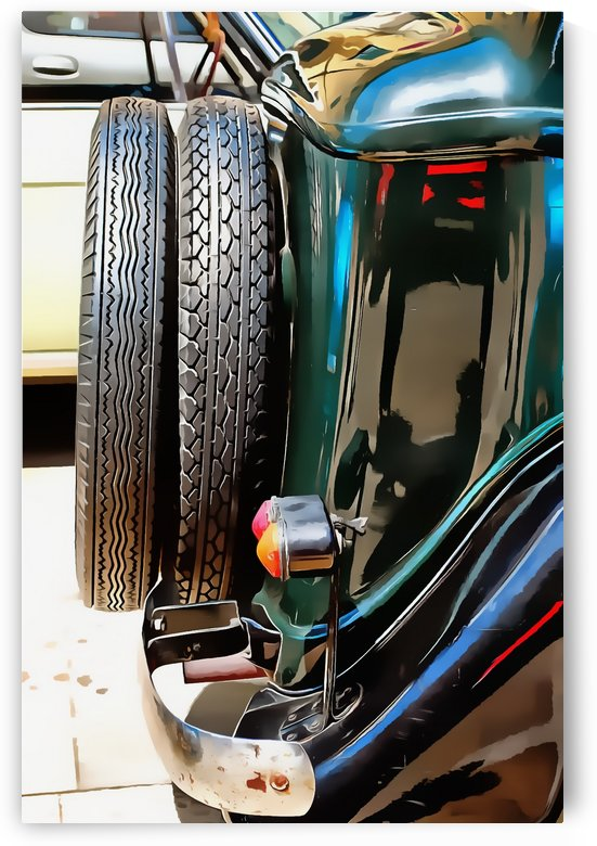 Fiat 508 Balila Rear View with Spare Tire  by Dorothy Berry-Lound