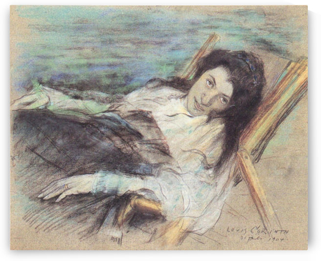 Charlotte Berend on a stool by Lovis Corinth by Lovis Corinth