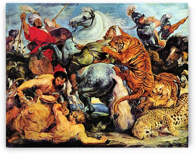 Lion and Tiger hunting by Rubens by Rubens