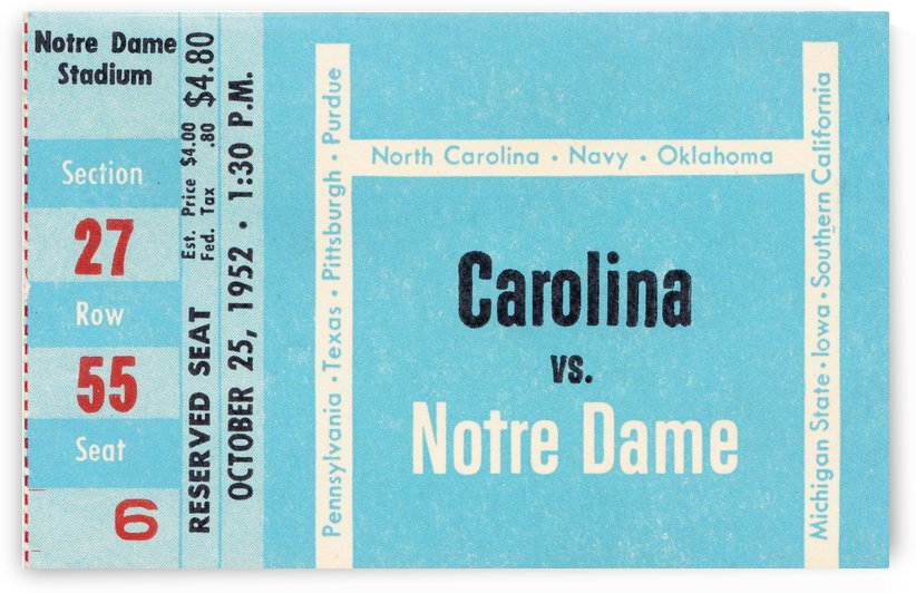 1952 north carolina tar heels notre dame irish college football sports ticket art south bend indiana by Row One Brand