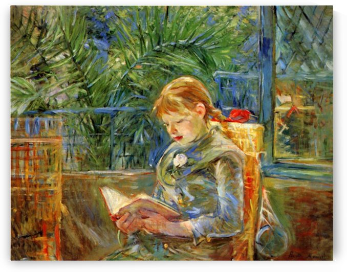 Little girl, reading by Morisot by Morisot