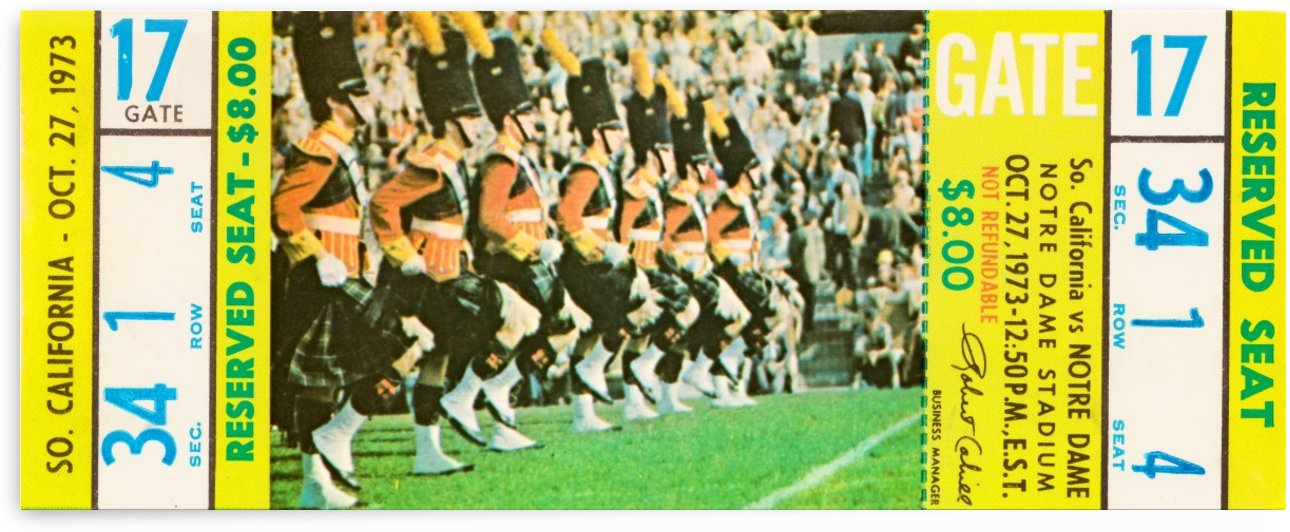 1973 usc notre dame football ticket stub canvas art south bend indiana sports gift idea by Row One Brand