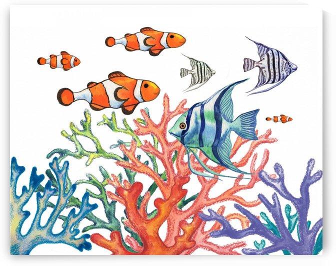 Super Busy Life Under The Sea Clownfish Angelfish Corals by Irina Sztukowski