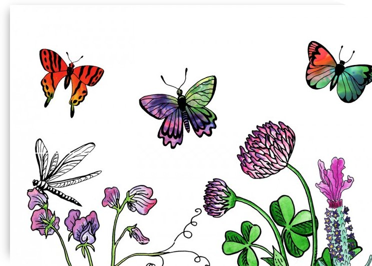 Garden With Butterflies Botanical Watercolor Painting by Irina Sztukowski