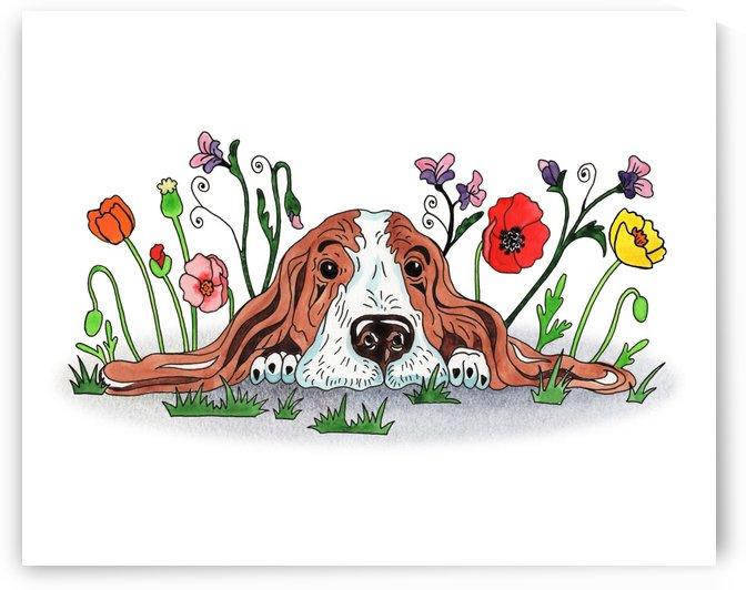 Super Sweet Cute Basset Poppy With Poppies Watercolor by Irina Sztukowski