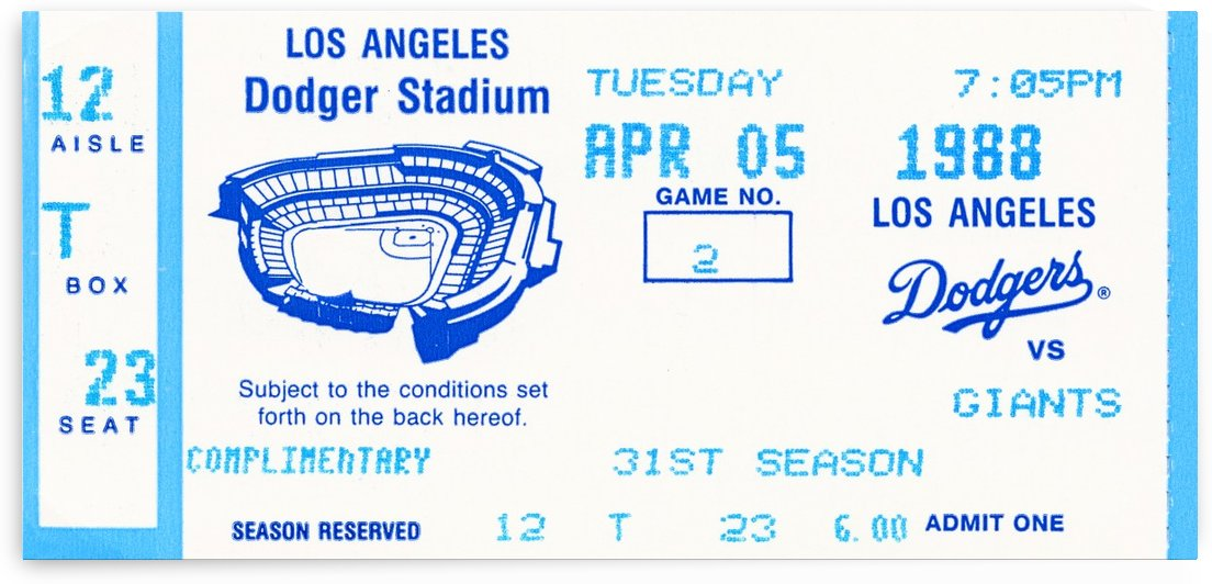 1988 la dodgers giants dodger stadium baseball ticket wall art sports gift by Row One Brand
