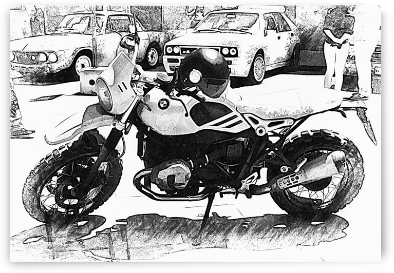 BMW Motorcyle Black and White by Dorothy Berry-Lound
