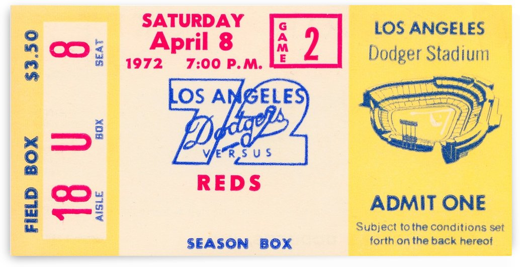 1972 la dodgers field level box baseball ticket stub canvas art by Row One Brand