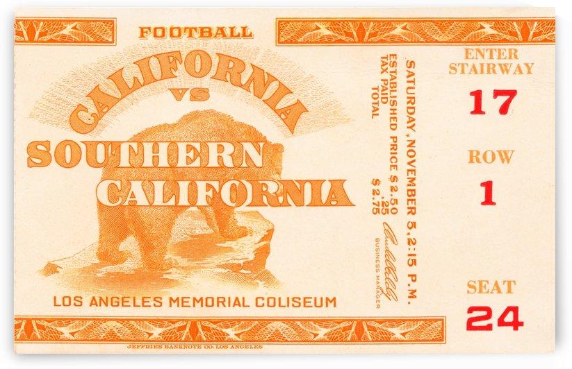 1938 cal bears usc trojans football ticket stub art la coliseum by Row One Brand