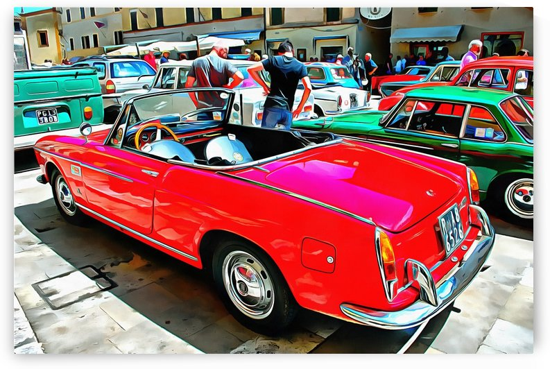 Fiat 1500 Cabriolet Red Version Rear View by Dorothy Berry-Lound