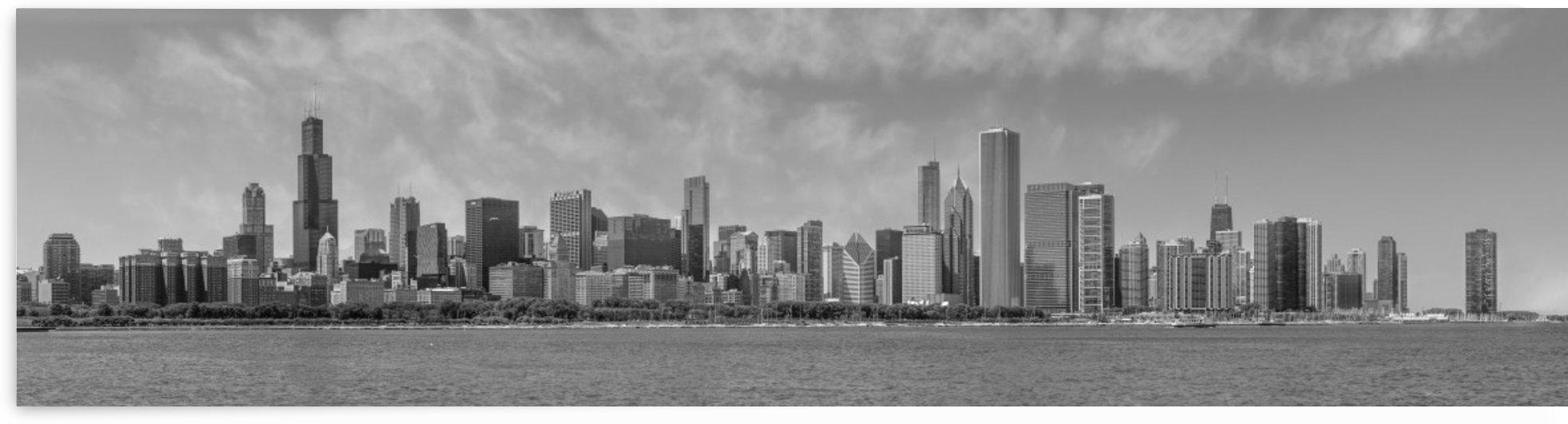 Chicago Skyline   Panorama Monochrome by Melanie Viola