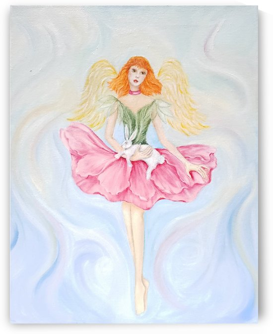 Fairy Winged in Green & Pink Flower Dress Holding White Rabbit by Norma Roman Creations