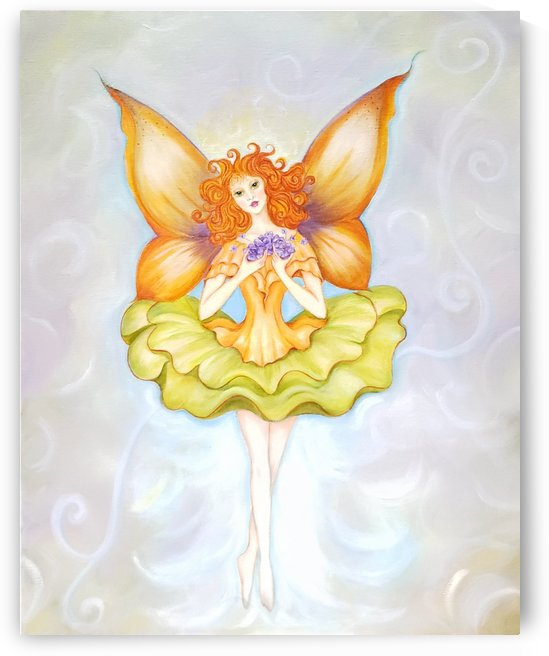 Fairy Orange Winged in Green & Orange Flower Dress Holding Purple Flowers by Norma Roman Creations