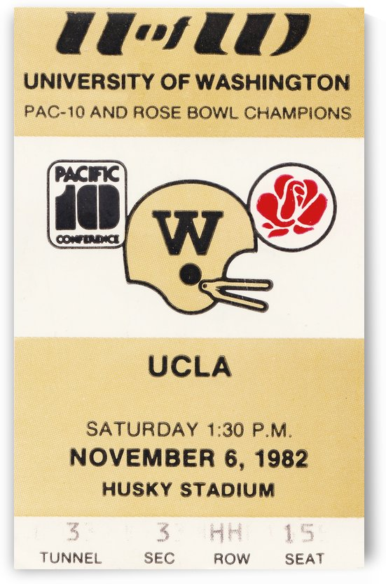 1982 uw huskies washington ucla football ticket stub canvas husky stadium seattle ticket by Row One Brand