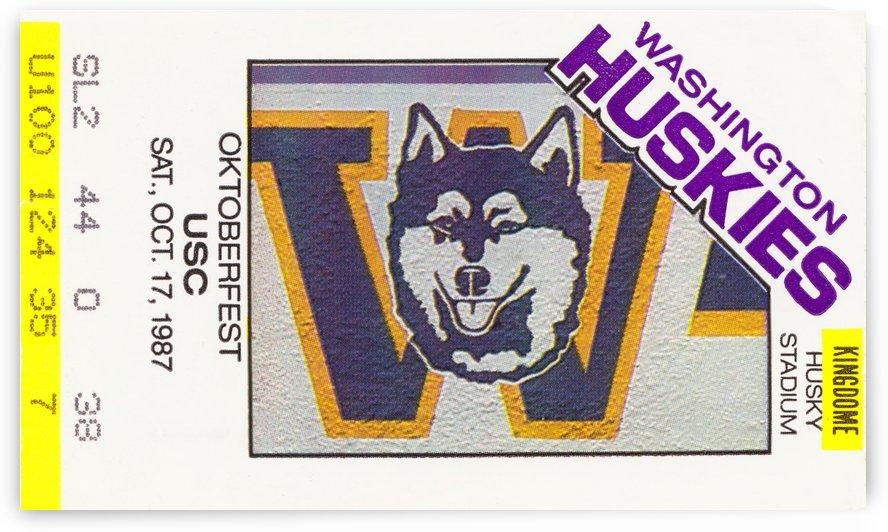 1987 usc washington huskies seattle kingdome ticket art by Row One Brand