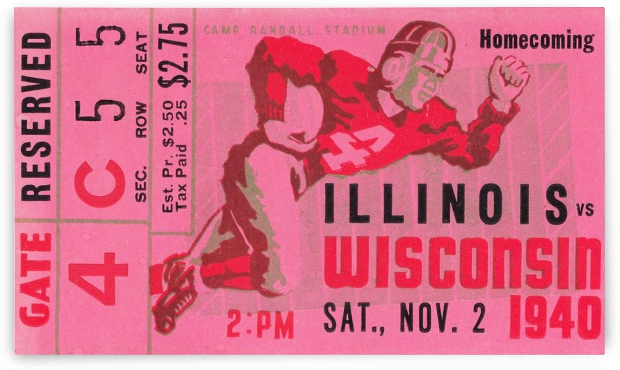 1940 wisconsin badgers illinois football ticket stub camp randall stadium madison by Row One Brand