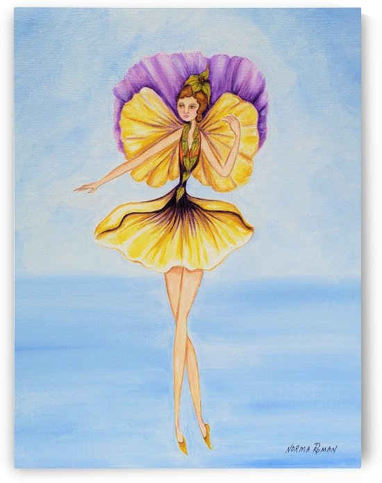 Fairy Yellow & Purple Flower Winged in Green Flower Dress WOOD PRINT  by Norma Roman Creations