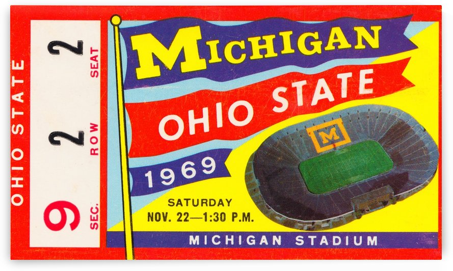 1969 Michigan vs. Ohio State Football Ticket Canvas by Row One Brand