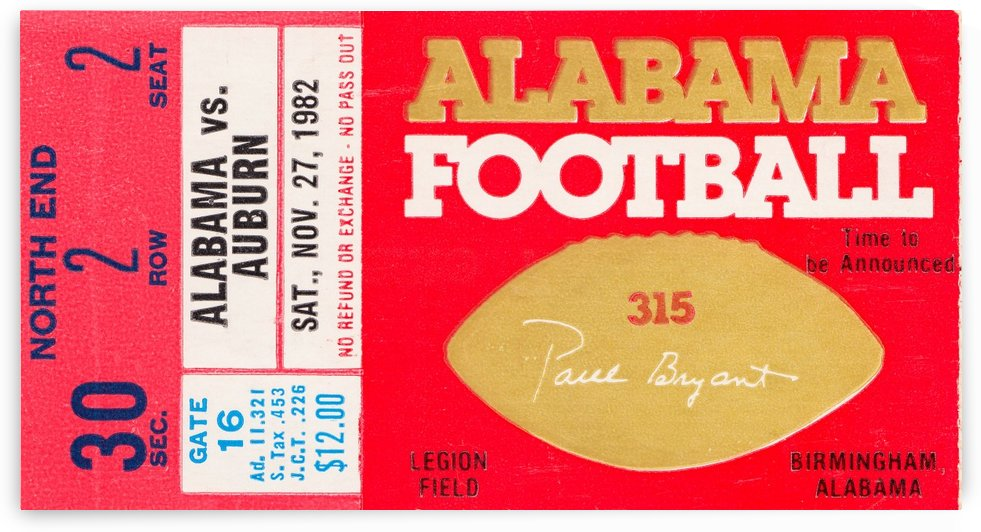 1982 iron bowl bo over the top game by Row One Brand