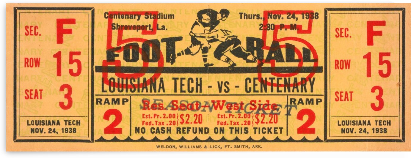 1938 Centenary vs. Louisiana Tech by Row One Brand