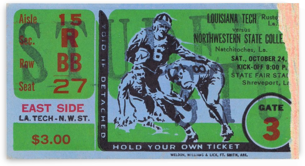 1959 Louisiana Tech vs. Northwestern State by Row One Brand