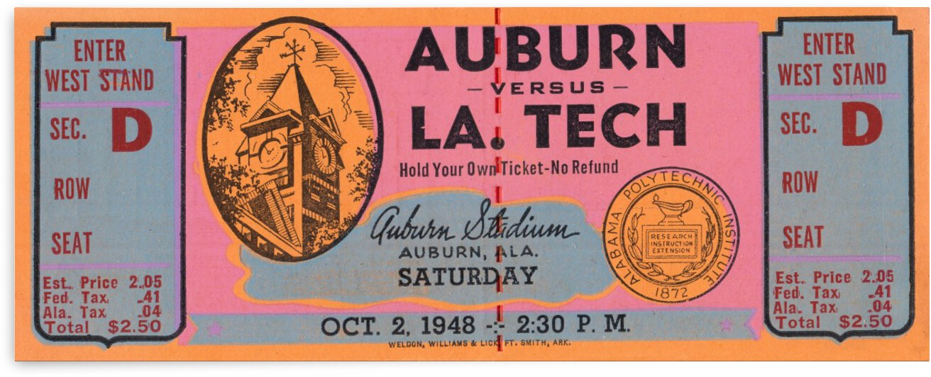 1948 Auburn vs. Louisiana Tech by Row One Brand