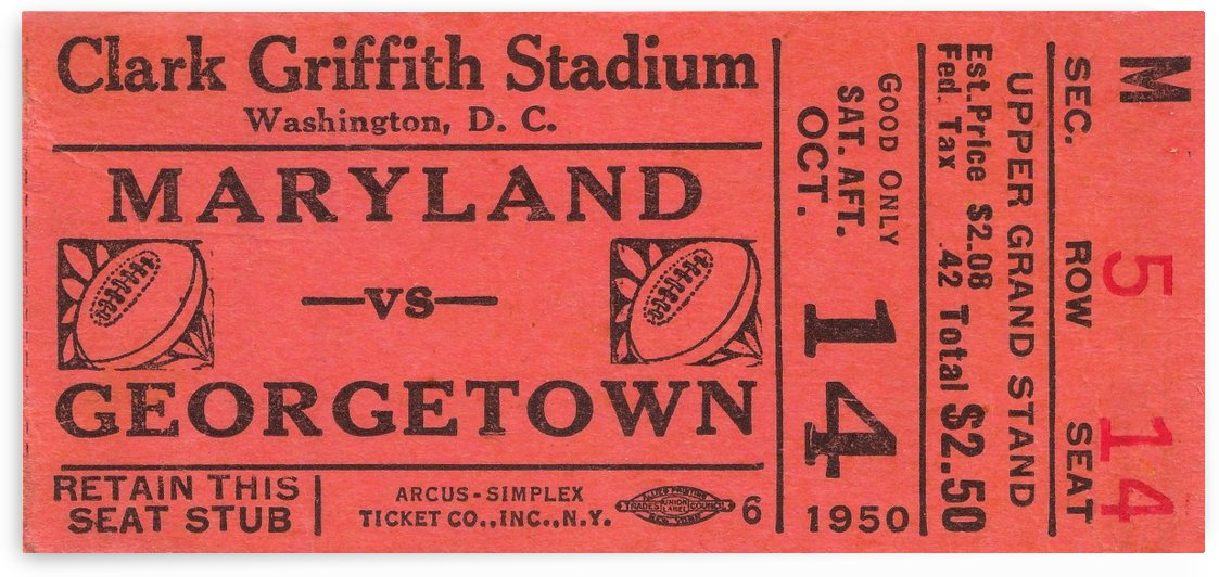 1950 maryland georgetown hoyas football ticket art by Row One Brand