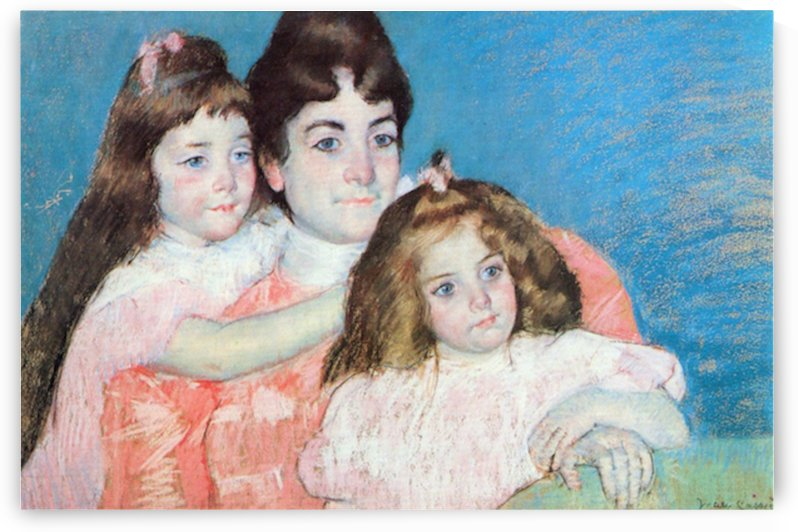 Madame A.F. Aude with her two daughters by Cassatt by Cassatt