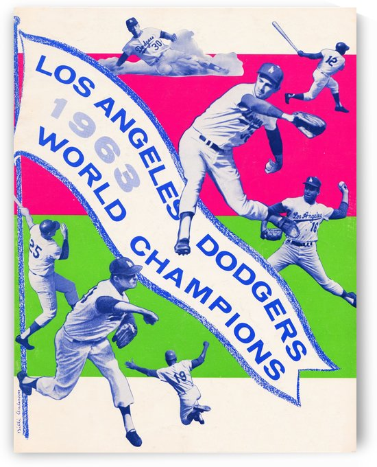 1963 la dodgers world champions poster art by Row One Brand