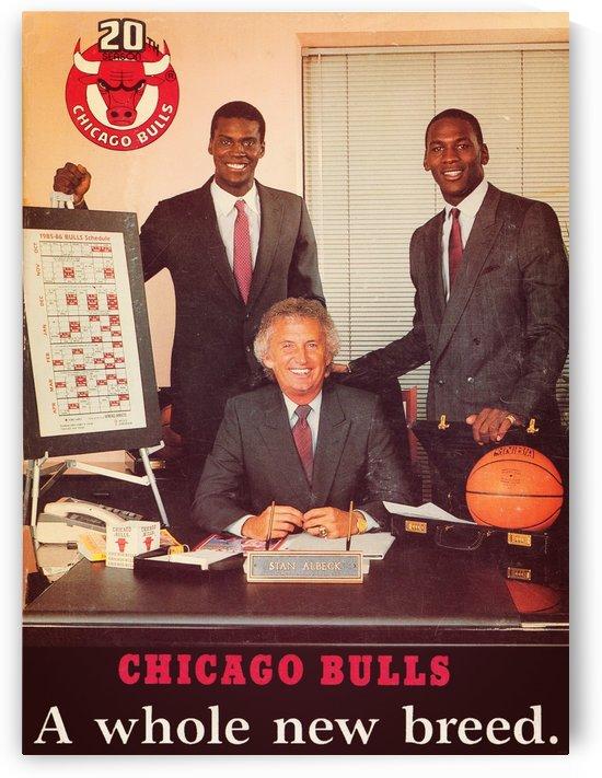 1985 chicago bulls michael jordan orlando woolridge retro sports posters by Row One Brand