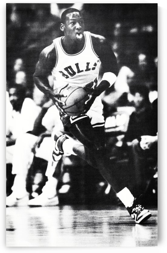 1985 Michael Jordan Black and White Poster by Row One Brand