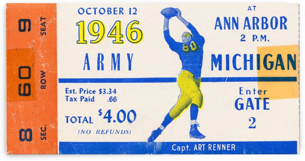 1946 michigan army ann arbor college football ticket art by Row One Brand