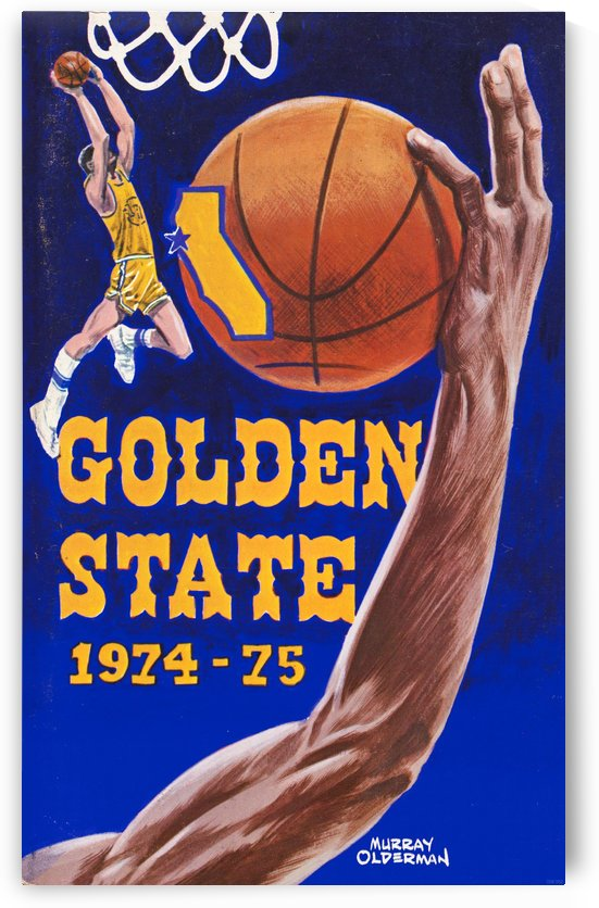 1974 golden state warriors basketball art murray olderman artist by Row One Brand