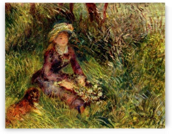 Madame Renoir with dog by Renoir by Renoir