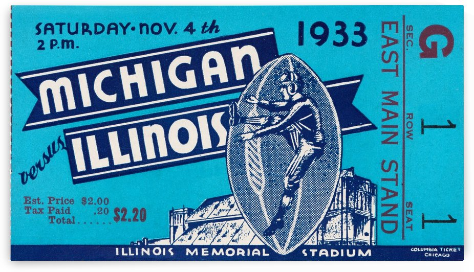 1933 michigan illinois vintage football ticket framed art by Row One Brand