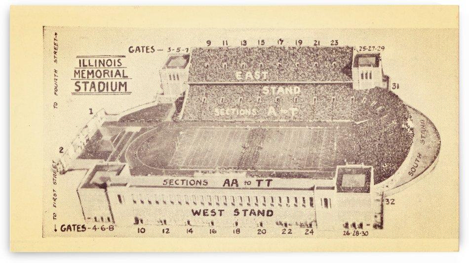 1933 Illinois Memorial Stadium Map Wall Art by Row One Brand