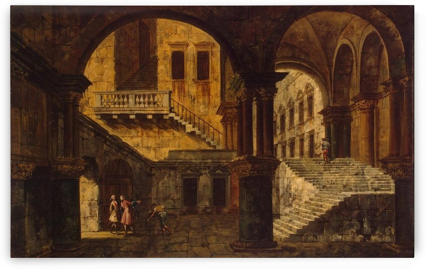 Courtyard with staircase by Michele Marieschi
