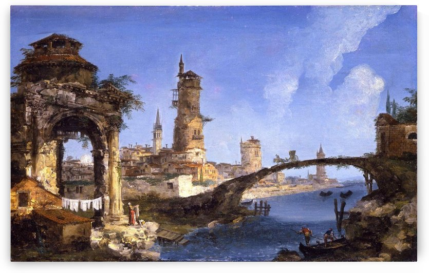 Capriccio with ruined arch, medieval tower and bridge by Michele Marieschi