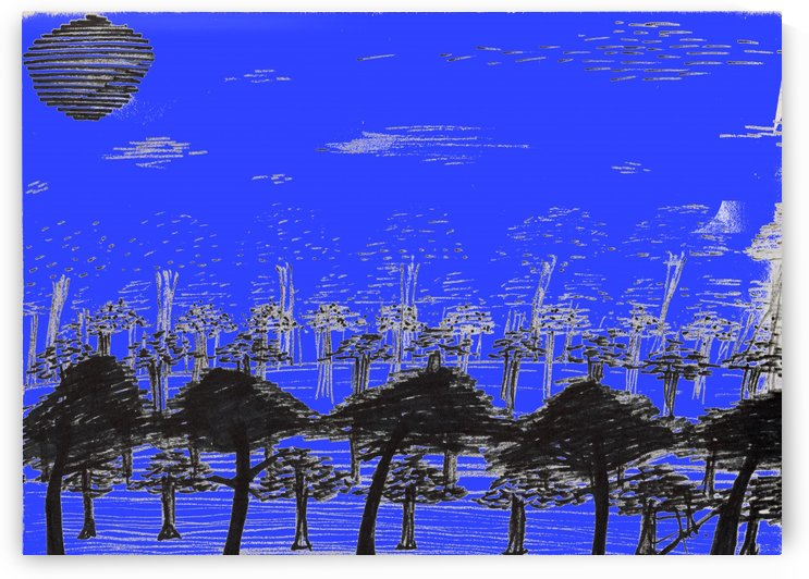 Trees vs sun blue by Oletydraw