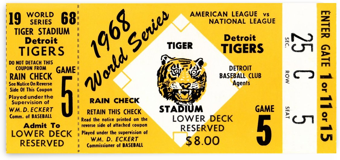 1968 Detroit Tigers World Series Tickets by Row One Brand