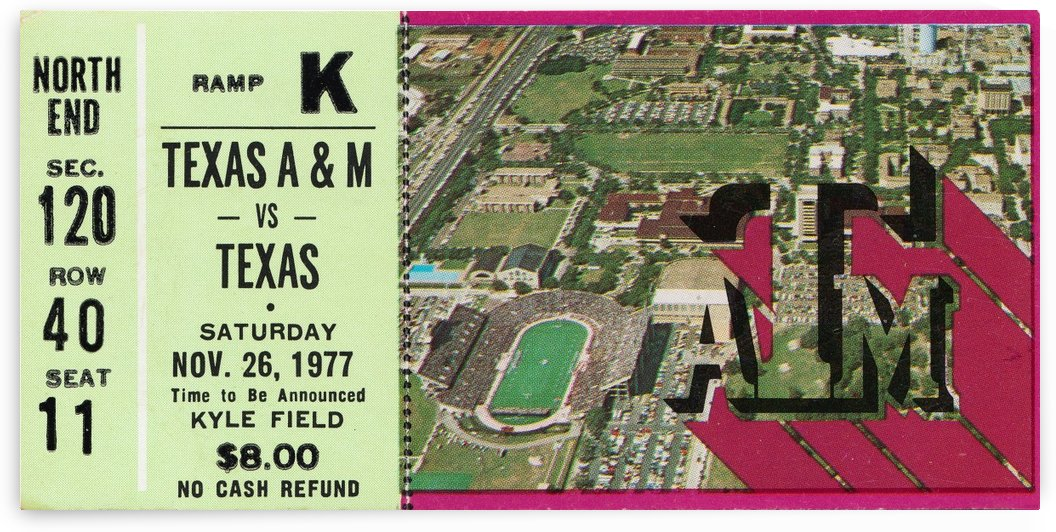 1977 texas am aggies college station football ticket stub wall art by Row One Brand