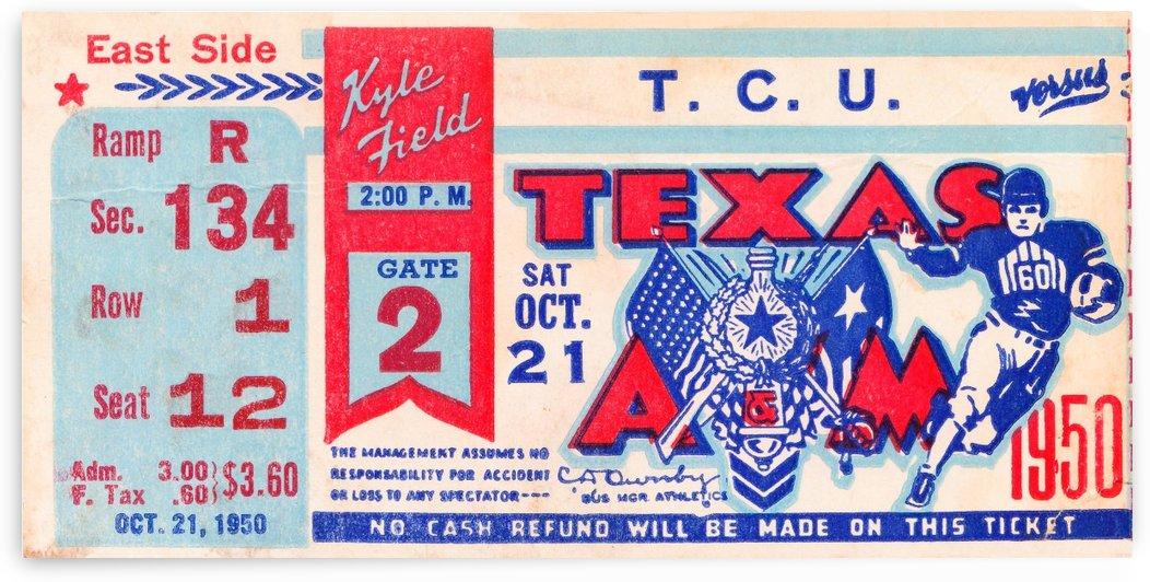 1950 texas am aggies tcu football ticket stub art kyle field college station by Row One Brand