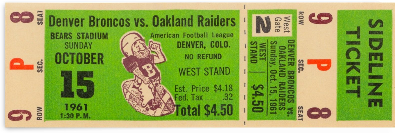 1961 oakland raiders denver broncos afl ticket stub art by Row One Brand