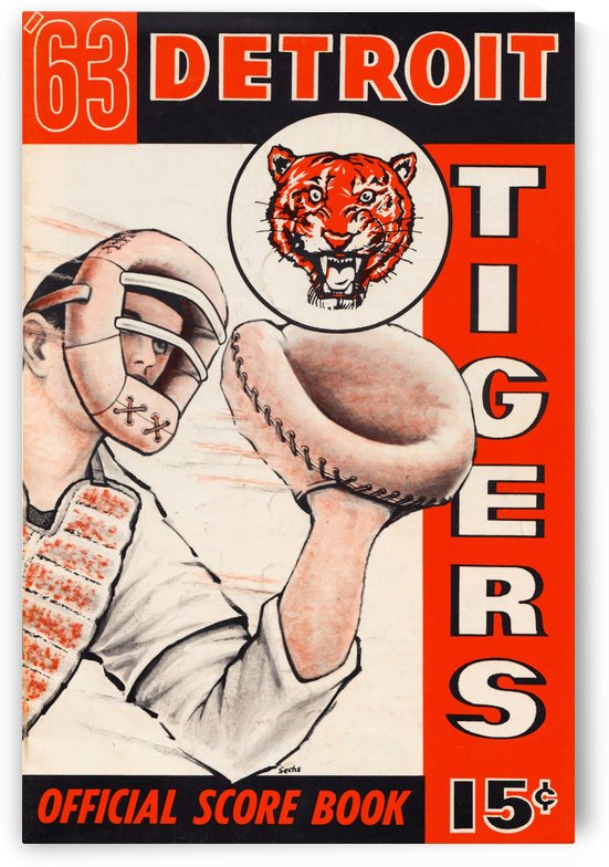 1963 detroit tigers baseball score book canvas art by Row One Brand