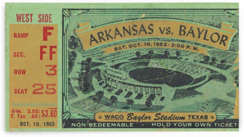 1953 arkansas baylor football ticket wall art by Row One Brand
