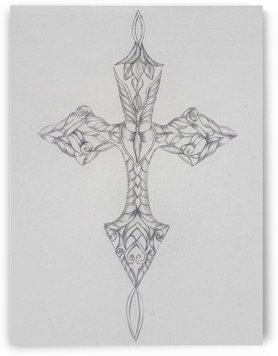 Cross Sketch Heart Center by Norma Roman Creations