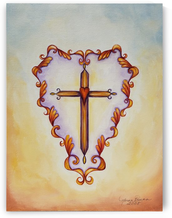 Cross Wooden Red Heart Center Decorative Surround by Norma Roman Creations