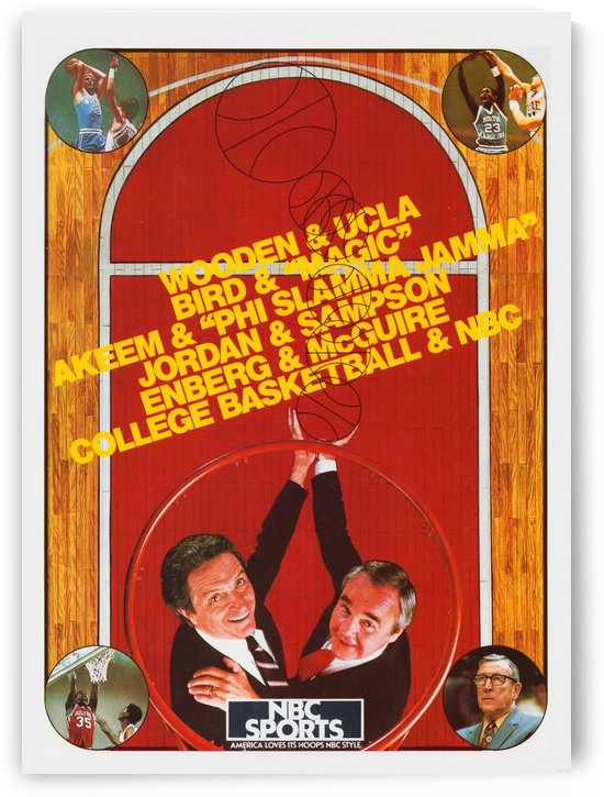 1987 NBC College Basketball Sports Ad Poster by Row One Brand