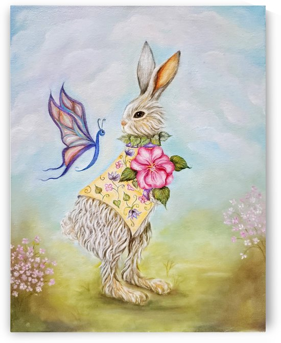 Easter Bunny in Yellow Jacket Looking at a Butterfly by Norma Roman Creations